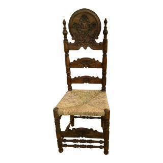 19th Century Carved Spanish Chair W Rush Seat For Sale
