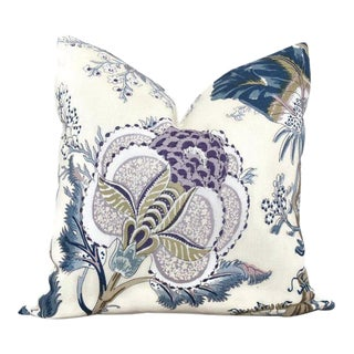Schumacher Indian Arbre Hyacinth Blue Tan and Lavender Floral Pillow Cover For Sale