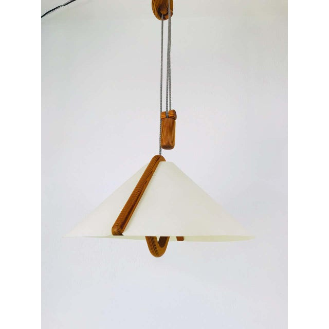 Adjustable Midcentury Wooden Pendant Lamp with Counterweight by Domus, 1960s For Sale - Image 6 of 13