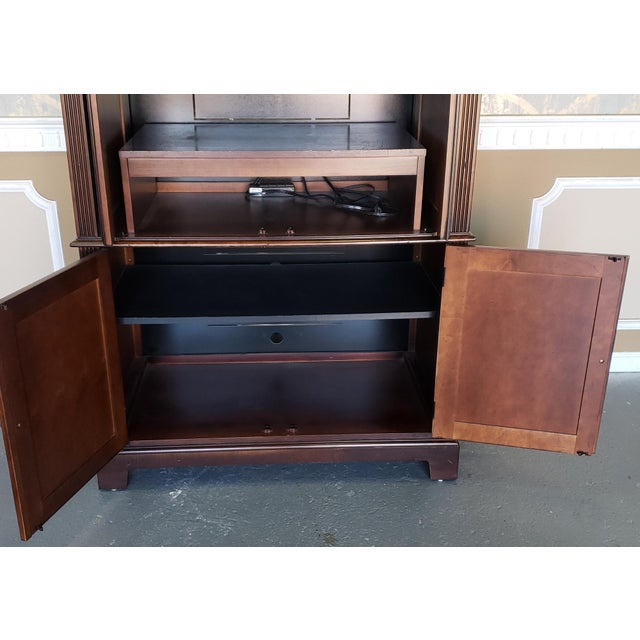 Brown Hekman Furniture Burl Walnut Contemporary Entertainment Tv Armoire Cabinet For Sale - Image 8 of 13