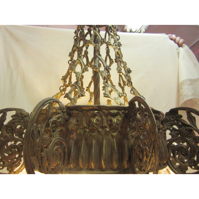 Early 20th Century Early 20th Century Art Nouveau Italian Glass and Bronze Floral Chandelier For Sale - Image 5 of 11