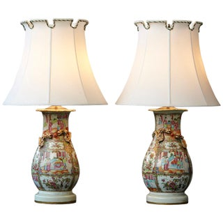 Late 19th Century Pair of Hand Painted Chinese Porcelain Vase Style Table Lamps For Sale