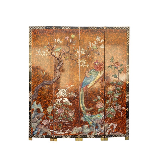 Jade Color Stone Inlaid Black Lacquer Wood Floor Screen Divider For Sale - Image 11 of 11