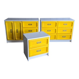 Space Age Bright Yellow Dressers, Set of 3 For Sale