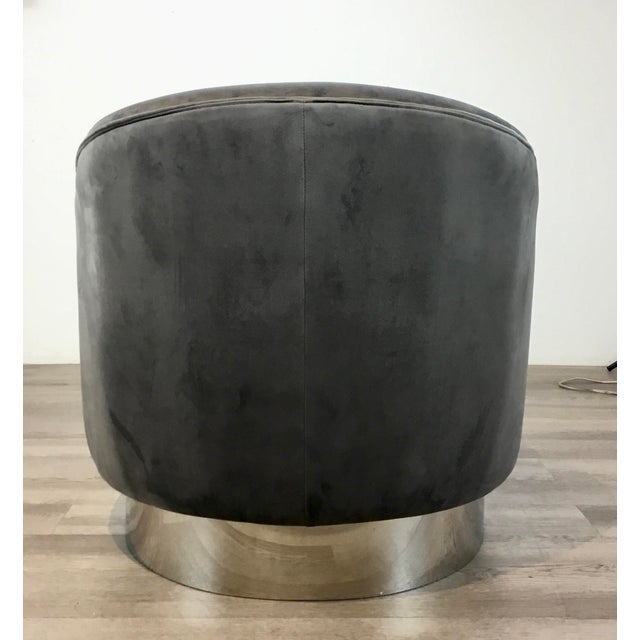 Metal Regina Andrew Modern Gray Velvet and Chrome Finished Jacqueline Slipper Chairs Pair For Sale - Image 7 of 8
