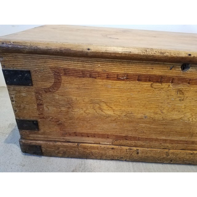 Mustard Late 19th Century Antique Pine Trunk With Original Hardware For Sale - Image 8 of 13