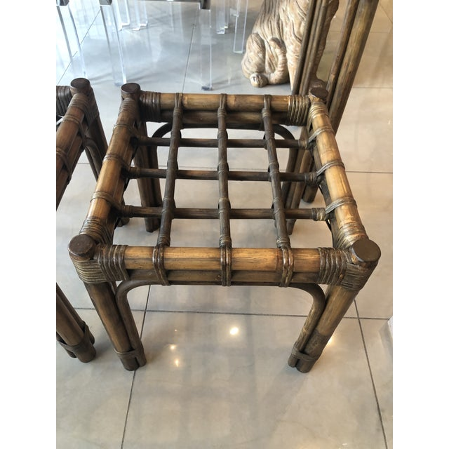 Vintage Tropical Bamboo Rattan Console Table and Benches - 3 Pc. Set For Sale - Image 9 of 13