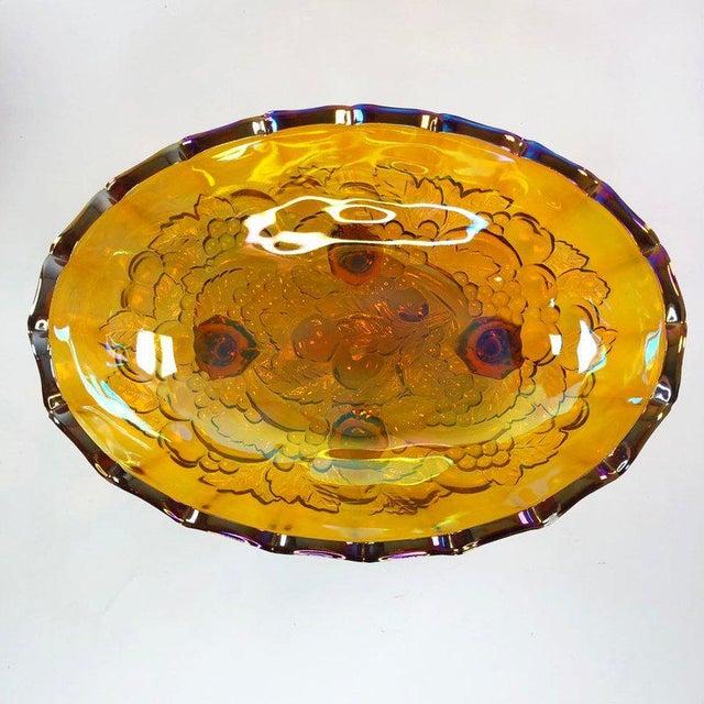 1940s Harvest Gold Carnival Glass Fruit Bowl For Sale - Image 4 of 5