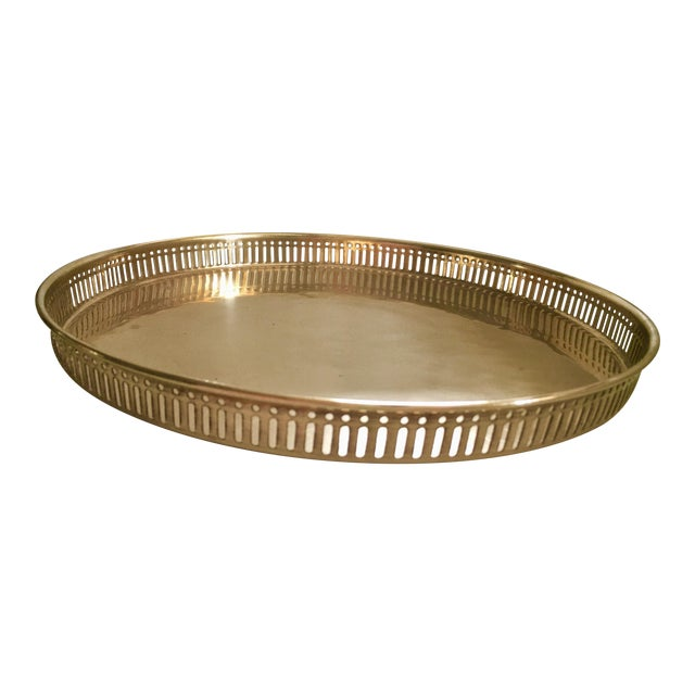 Vintage Pierced Gilt Round Tray For Sale
