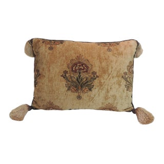 18th Century Italian Embroidered Velvet Floral Large Bolster Pillow For Sale