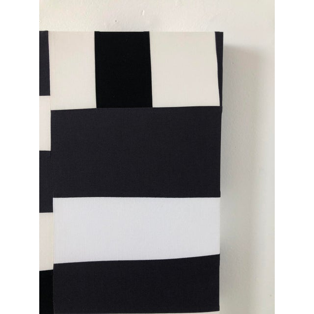 Textile Abstract Minimalist Black and White Textile Painting For Sale - Image 7 of 12