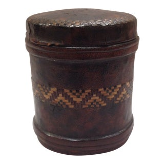 Early 20th Century Antique Tramp Art Leather Covered Tin Box For Sale