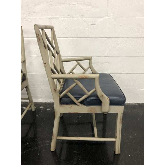 Boho Chic 21st Century Vintage Hickory Chair Fretwork Chairs - a Pair For Sale - Image 3 of 8