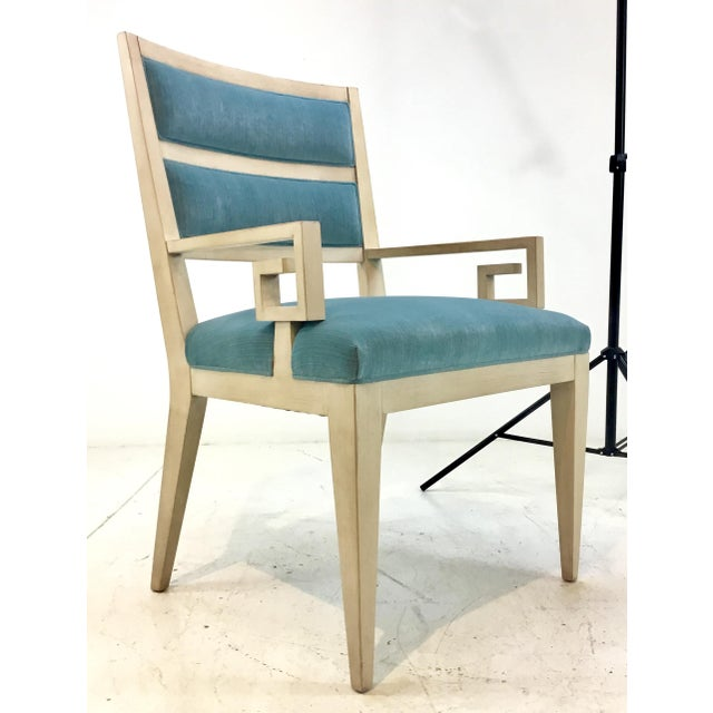 Turquoise Hickory White Modern Turquoise Velvet Greek Key Dining Chairs Set of Four For Sale - Image 8 of 11