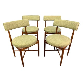 Vintage British Mid Century Modern Dining Chairs by G Plan Attributed to Kofod Larsen- Set of Four For Sale