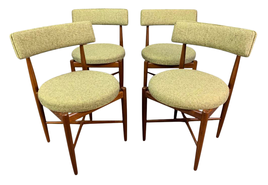 Vintage British Mid Century Modern Dining Chairs By G Plan Attributed To Kofod Larsen Set Of Four