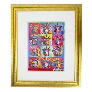 Mid Century Modern Framed Art Liberty and Justice for All Mixed Media by Peter Max For Sale