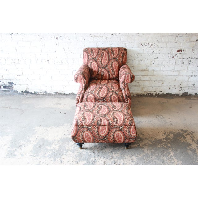 Kravet Kravet Lounge Chair and Ottoman in Paisley Upholstery For Sale - Image 4 of 12