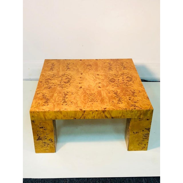 """Exceptional burl wood table by Willy Rizzo. Made in Italy, 1980's. Measures 31 1/2"""" by 31 1/2"""", 14 1/2"""" high. Some wear..."""