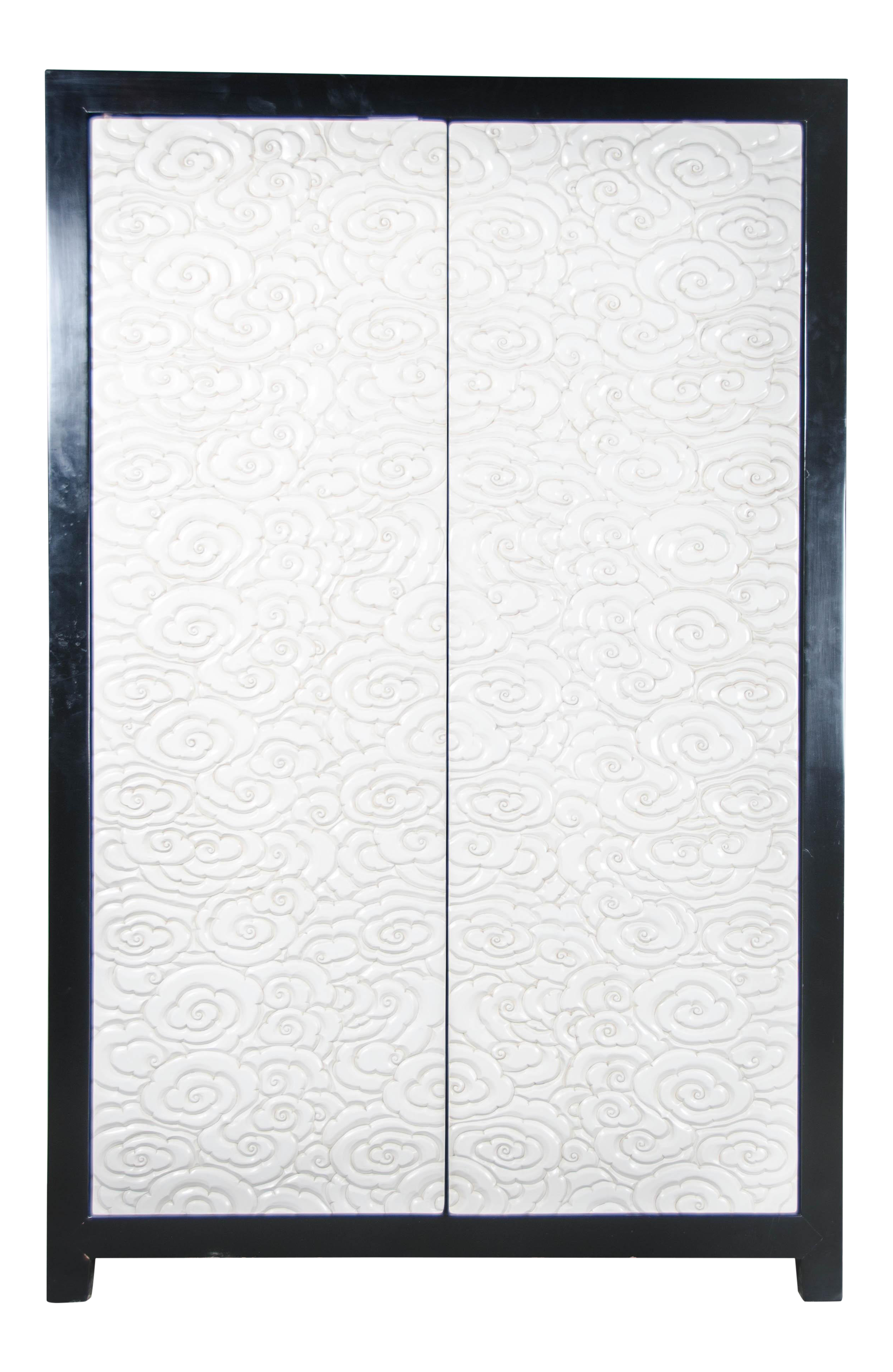 Carved Floral 2 Door Armoire   Cream Lacquer By Robert Kuo, Hand Carved,