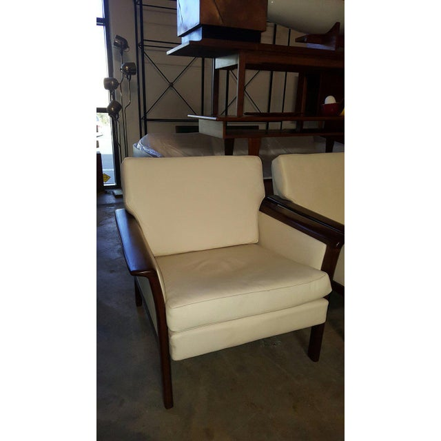 Danish Modern Vintage Danish Modern Hans Olsen White Leather Sofa & Chair - a Pair For Sale - Image 3 of 6
