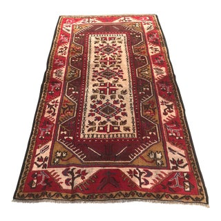"Turkish Vintage Handmade Milas Rug-3'6'x6'4"" For Sale"