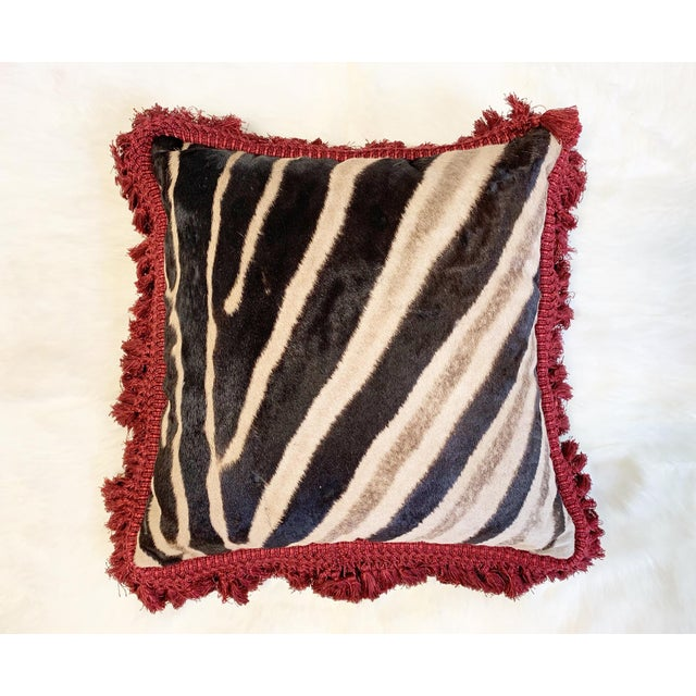"""2010s One of a Kind Zebra Pillow, 19"""" For Sale - Image 5 of 6"""