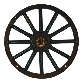 Antique Painted Iron Wheel For Sale