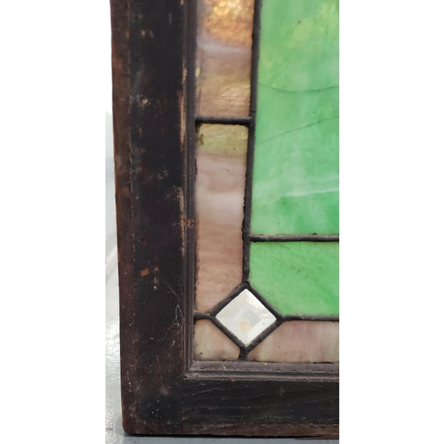 19th Century Stained Glass Victorian House Number Window Panel c.1880 Fantastic antique over the door window panel showing...