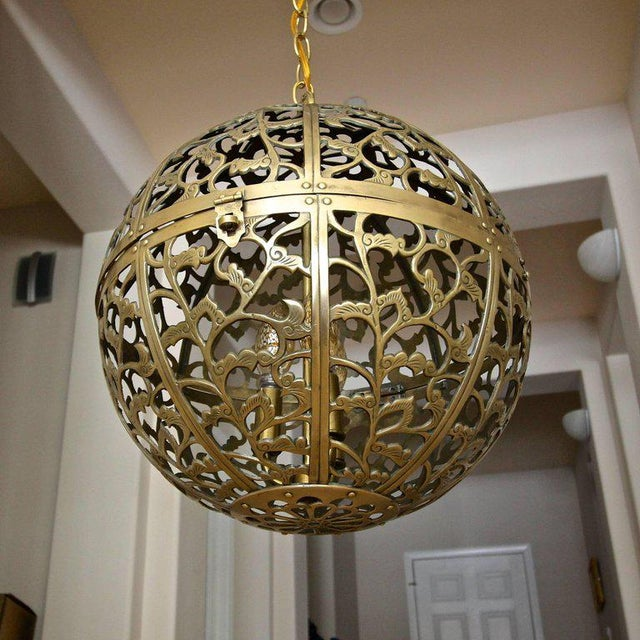 Large high quality filigree brass ceiling or pendant light with scrolling arabesque patterns. Handcrafted from thick solid...