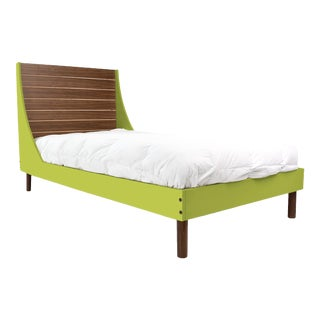 Nico & Yeye Minimo Full Panel Bedframe in Natural Walnut and Green For Sale