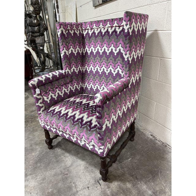 Modern Stylish Newly Reupholsterd Wing Back Chair For Sale - Image 3 of 7