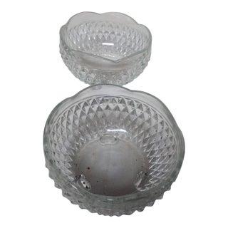 Diamond Cut Crystal Bowls - a Pair For Sale