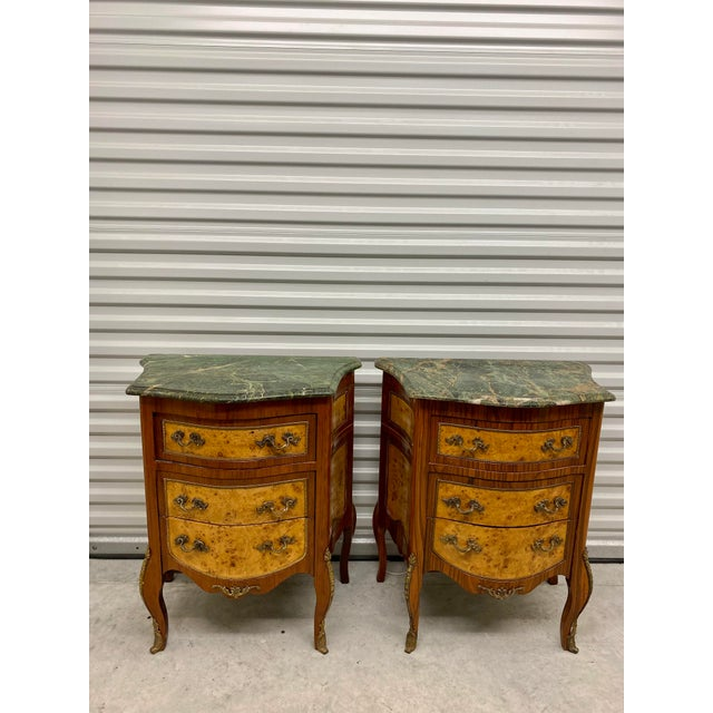 Vintage French Marble Top Nightstands - a Pair For Sale - Image 12 of 12