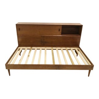 Mid Century Style Bed Frame & Headboard For Sale