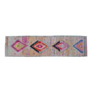 Hand Knotted Natural Colors Full Tribal Design Runner Rug Hallway Decor - 2′9″ X 11′2″ For Sale