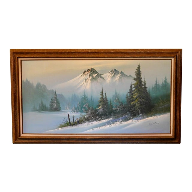 """Mid 20th Century """"A Winter Landscape"""" Oil Painting, Framed For Sale"""