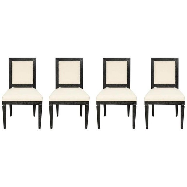 Louis XVI Style Black Cerused Chairs - Set of 4 For Sale - Image 11 of 11