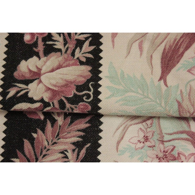 """French Antique French Black & Teal Parrot Bird Motif Cotton Fabric - 110"""" x 34"""" For Sale - Image 3 of 4"""