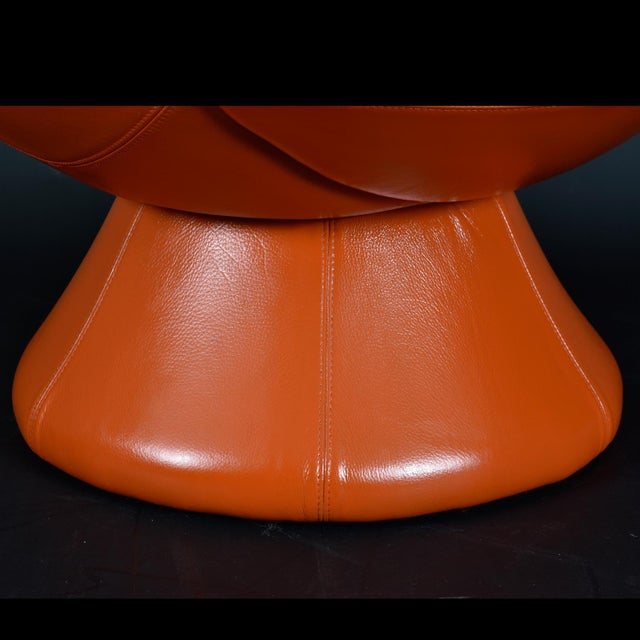 Nineteen-Laties Pedestal Base Orange Leather Swivel Pod Chairs by Jaymar For Sale - Image 9 of 13
