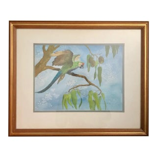 Green Parrot on a Branch Watercolor Painting - Signed Original by R. Haun For Sale
