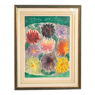 Vintage Russian Lithograph of Flowers For Sale