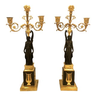 Pair Antique French Napoleonic Candelabra, Circa 1860-1870. For Sale