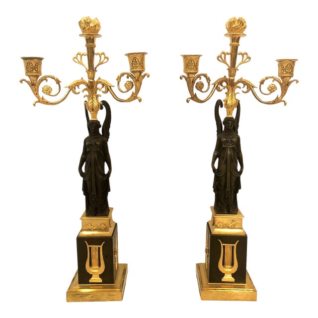 Pair Antique French Napoleonic Candelabra, Circa 1860-1870. For Sale
