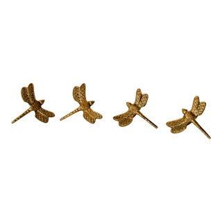 Brass Dragonfly Napkin Rings Set of 4 For Sale