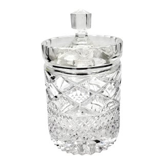 1940s Vintage Cut Lead Crystal Jam Jar For Sale