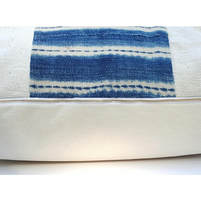 African Mud Cloth White and Blue Striped Pillow - Image 4 of 4