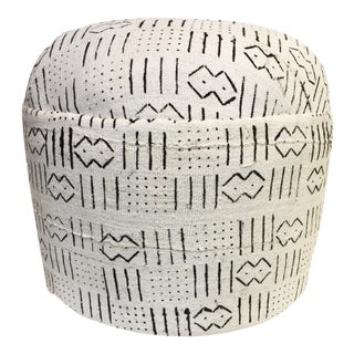 """Custom Made African Lg Round Malian Mud Cloth Ottoman 18"""" D by 17"""" H For Sale"""