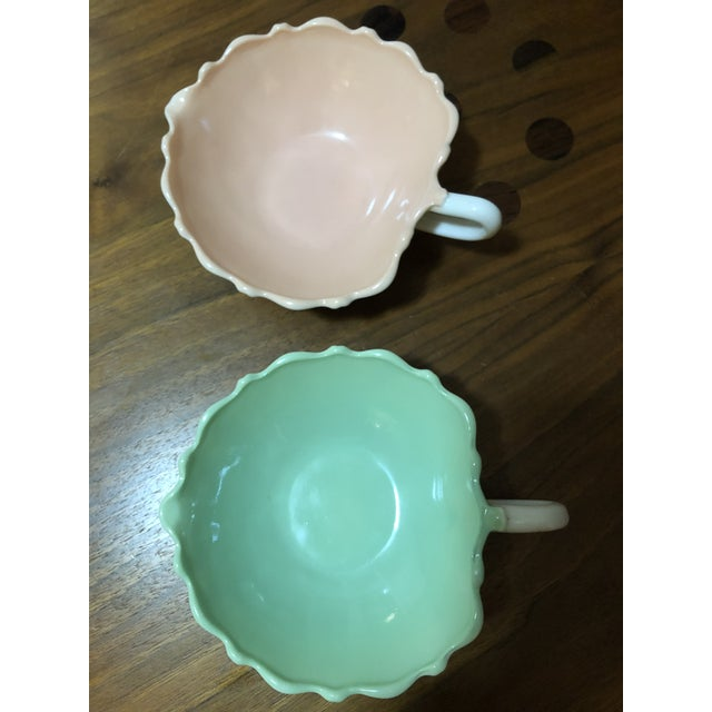 1940s Vintage Fire King Vitrock Pink and Green Candy Dishes - a Pair For Sale In Denver - Image 6 of 6