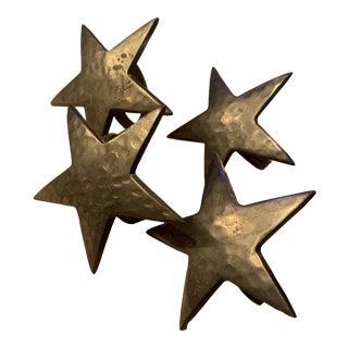1960s Hammered Brass Star Napkin Holders - Set of 4 For Sale